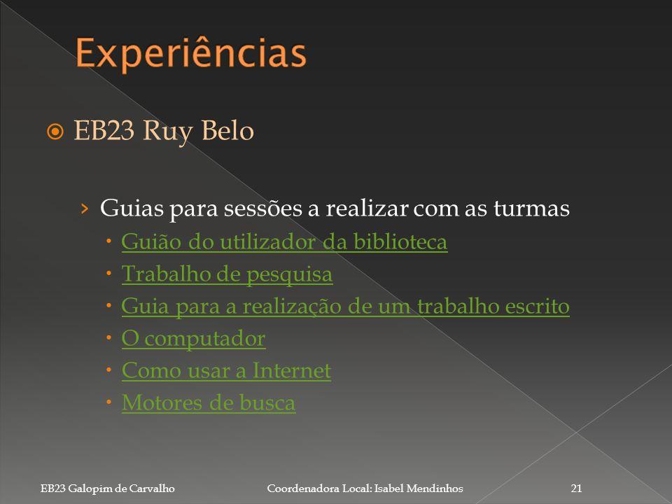 Experiências EB23 Ruy Belo Guias para sessões a realizar com as turmas