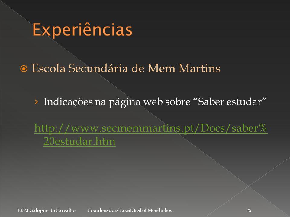 Experiências Escola Secundária de Mem Martins