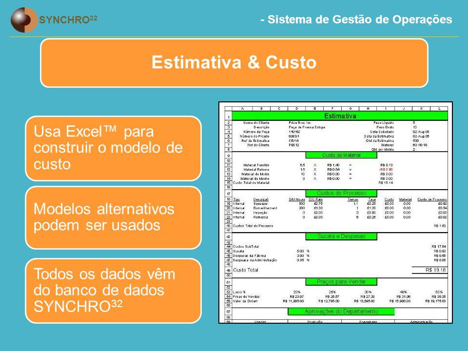 Estimativa & Custo Usa Excel™ para construir o modelo de custo