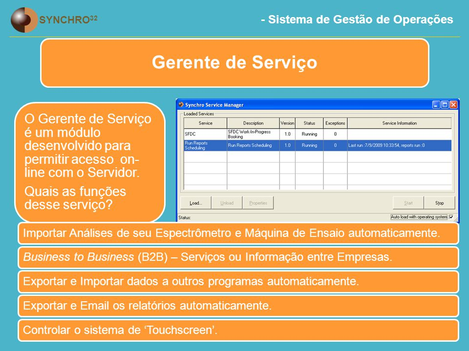Gerente de Serviço O Gerente de Serviço é um módulo desenvolvido para permitir acesso on-line com o Servidor.