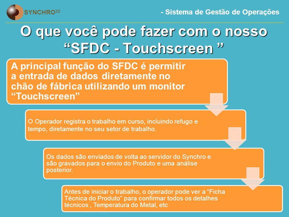 O que você pode fazer com o nosso SFDC - Touchscreen