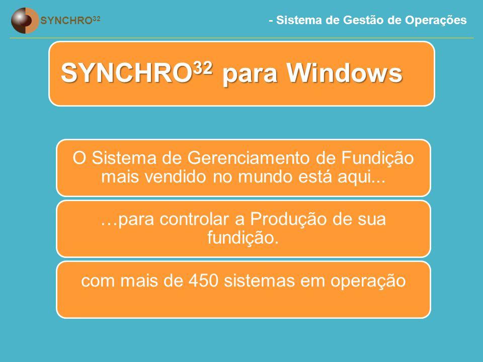 SYNCHRO32 para Windows O Sistema de Gerenciamento de Fundição mais vendido no mundo está aqui... …para controlar a Produção de sua fundição.