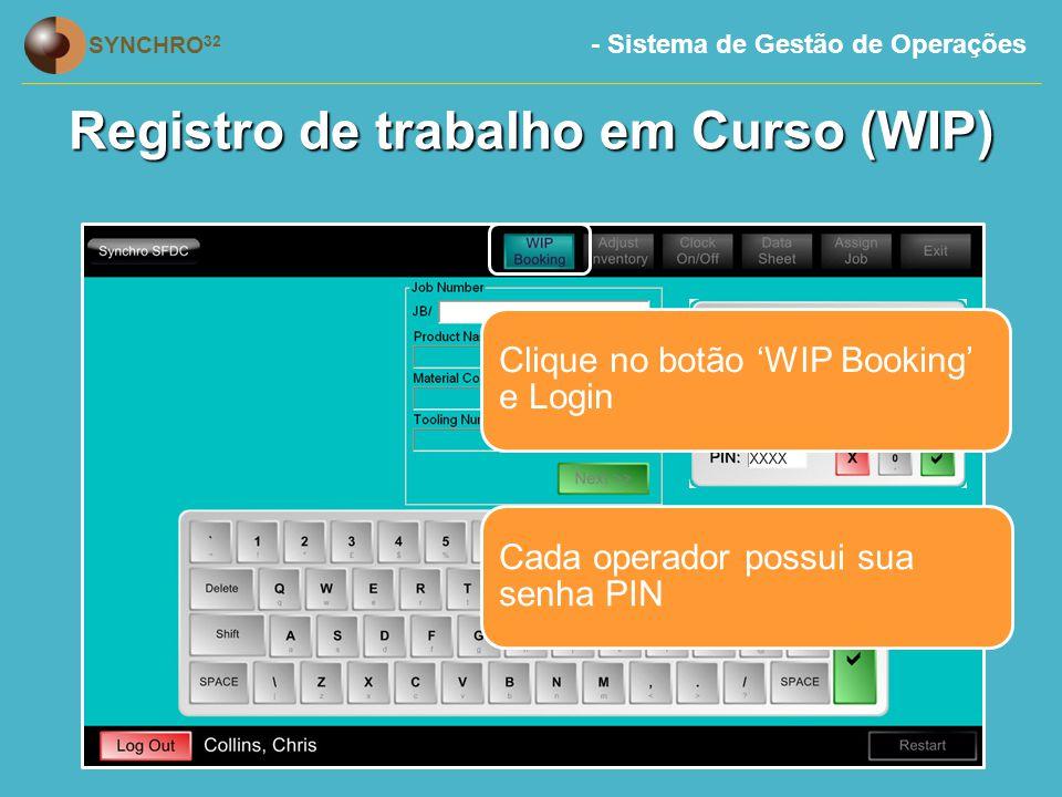Registro de trabalho em Curso (WIP)