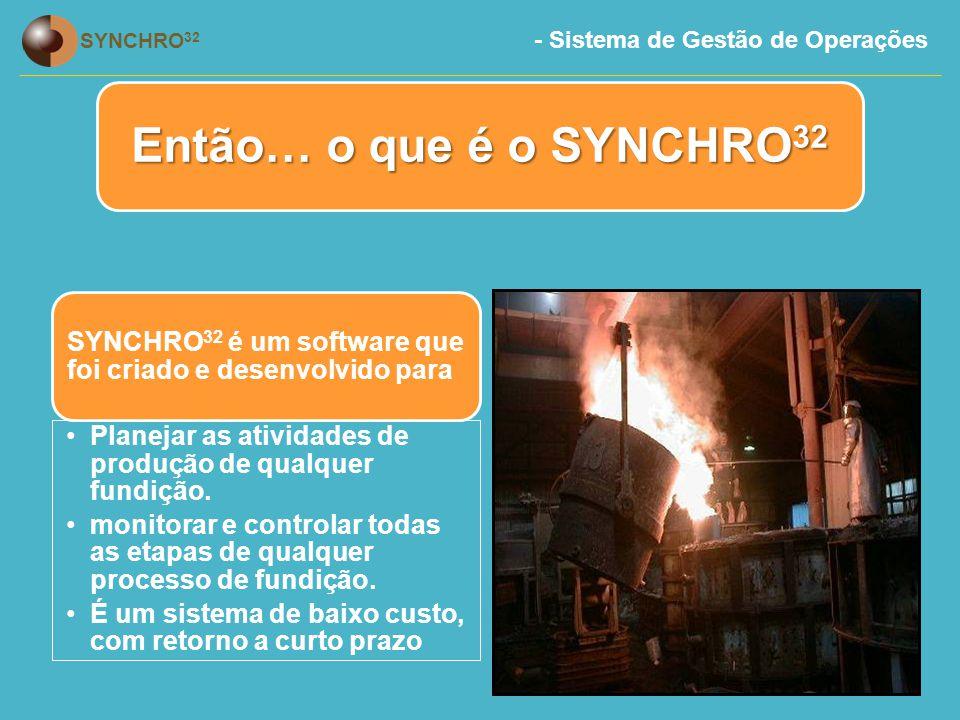 Então… o que é o SYNCHRO32 SYNCHRO32 é um software que foi criado e desenvolvido para. Planejar as atividades de produção de qualquer fundição.