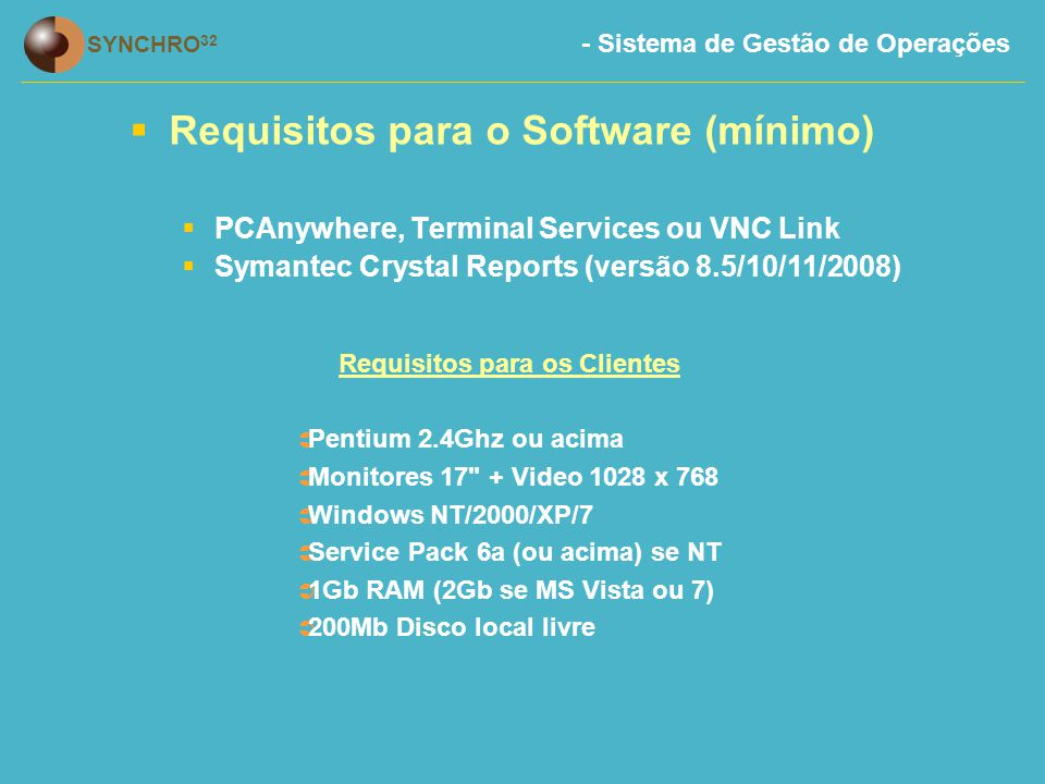 Requisitos para os Clientes