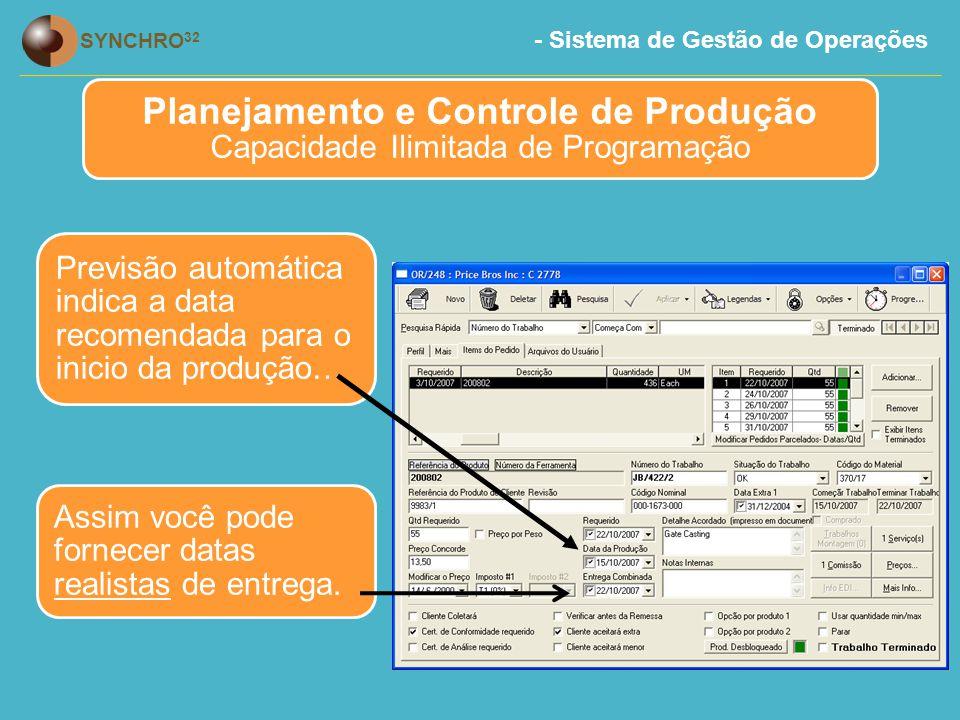 Planejamento e Controle de Produção Capacidade Ilimitada de Programação