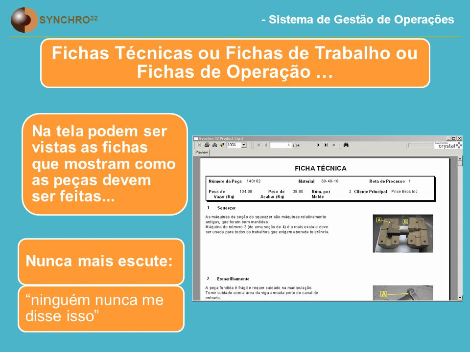 Fichas Técnicas ou Fichas de Trabalho ou Fichas de Operação …