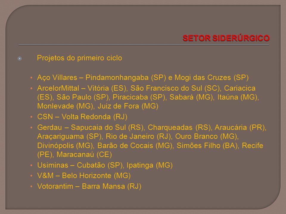 SETOR SIDERÚRGICO Projetos do primeiro ciclo