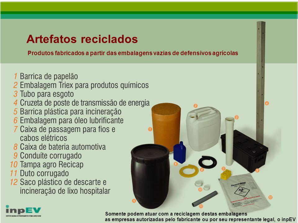 Artefatos reciclados Produtos fabricados a partir das embalagens vazias de defensivos agrícolas.