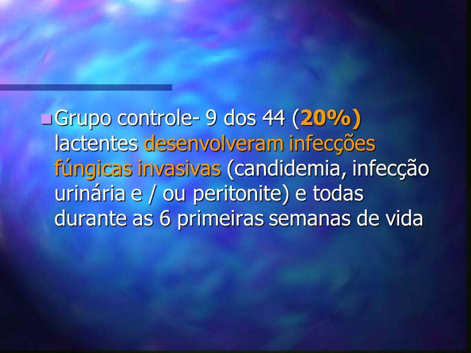 Grupo controle- 9 dos 44 (20%) lactentes desenvolveram infecções fúngicas invasivas (candidemia, infecção urinária e / ou peritonite) e todas durante as 6 primeiras semanas de vida