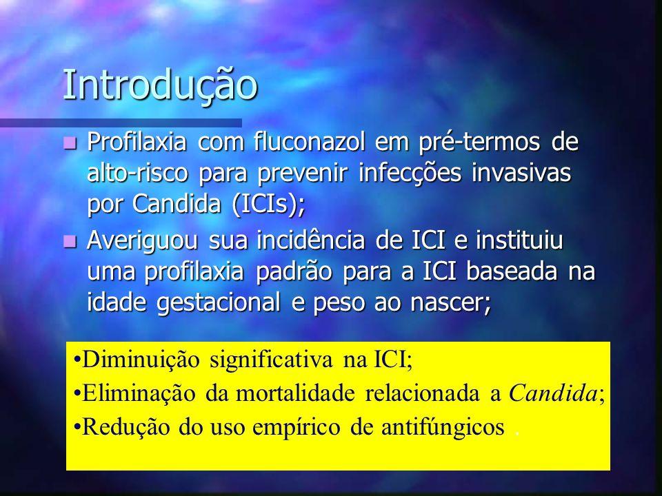 Introdução Profilaxia com fluconazol em pré-termos de alto-risco para prevenir infecções invasivas por Candida (ICIs);