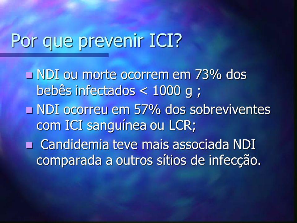 Por que prevenir ICI NDI ou morte ocorrem em 73% dos bebês infectados < 1000 g ; NDI ocorreu em 57% dos sobreviventes com ICI sanguínea ou LCR;