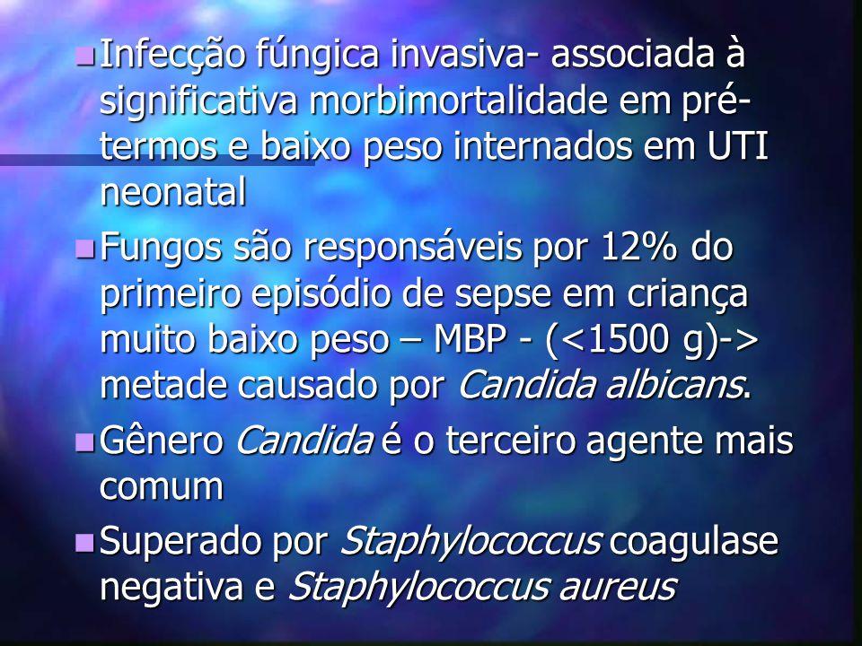 Infecção fúngica invasiva- associada à significativa morbimortalidade em pré-termos e baixo peso internados em UTI neonatal