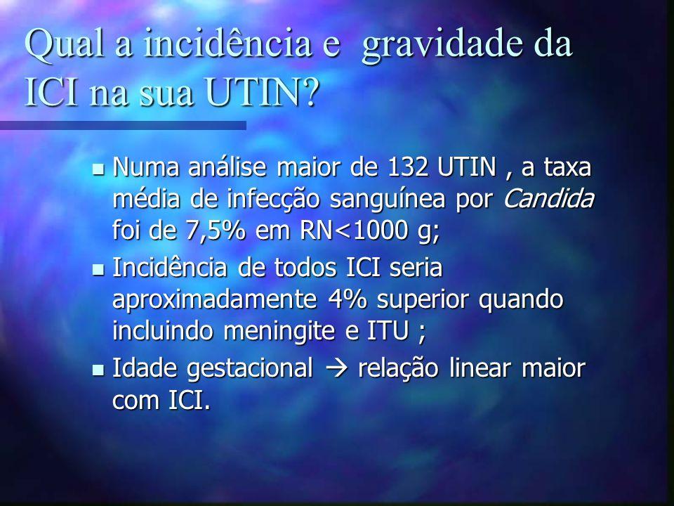 Qual a incidência e gravidade da ICI na sua UTIN