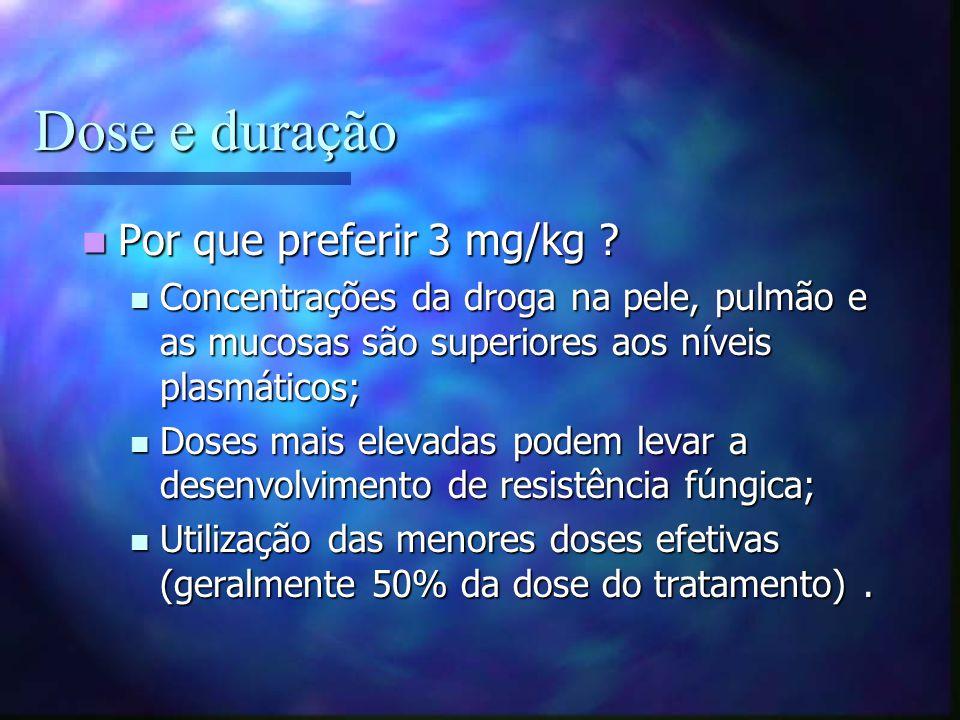 Dose e duração Por que preferir 3 mg/kg