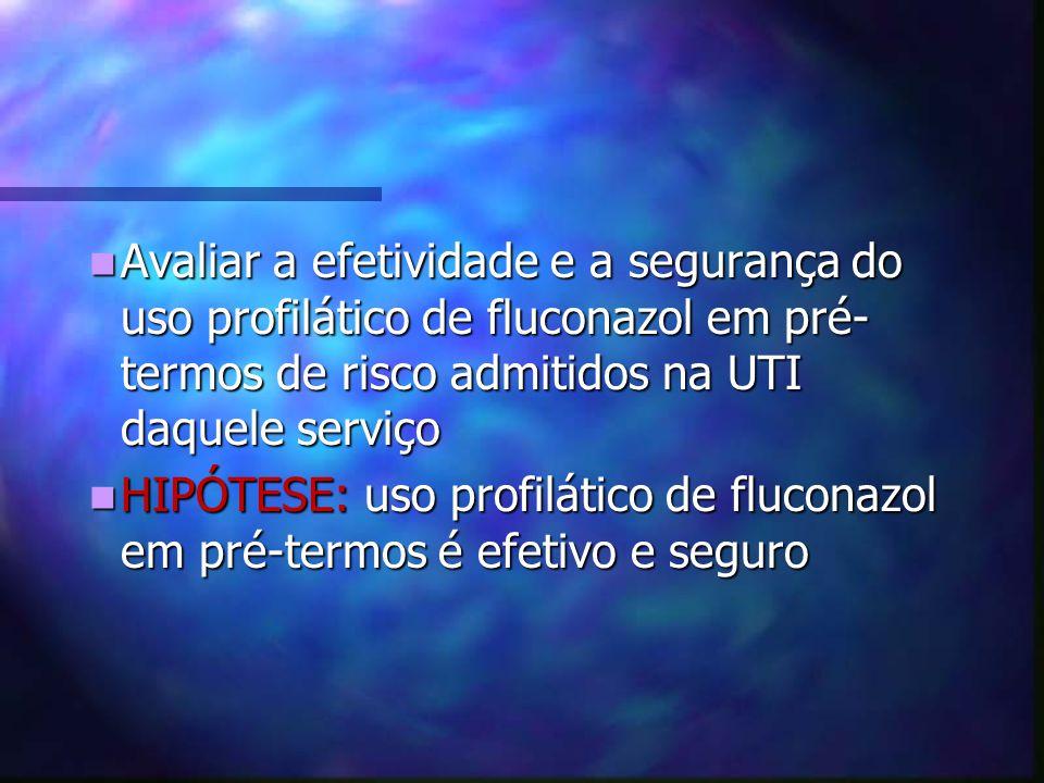 Avaliar a efetividade e a segurança do uso profilático de fluconazol em pré-termos de risco admitidos na UTI daquele serviço