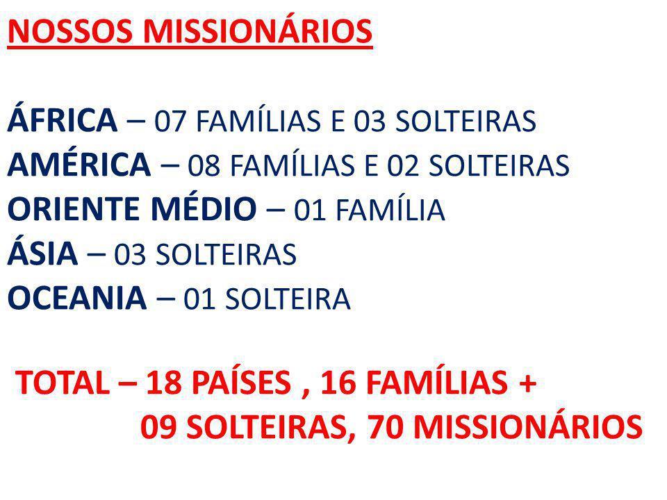 NOSSOS MISSIONÁRIOS ÁFRICA – 07 FAMÍLIAS E 03 SOLTEIRAS AMÉRICA – 08 FAMÍLIAS E 02 SOLTEIRAS ORIENTE MÉDIO – 01 FAMÍLIA ÁSIA – 03 SOLTEIRAS OCEANIA – 01 SOLTEIRA TOTAL – 18 PAÍSES , 16 FAMÍLIAS + 09 SOLTEIRAS, 70 MISSIONÁRIOS