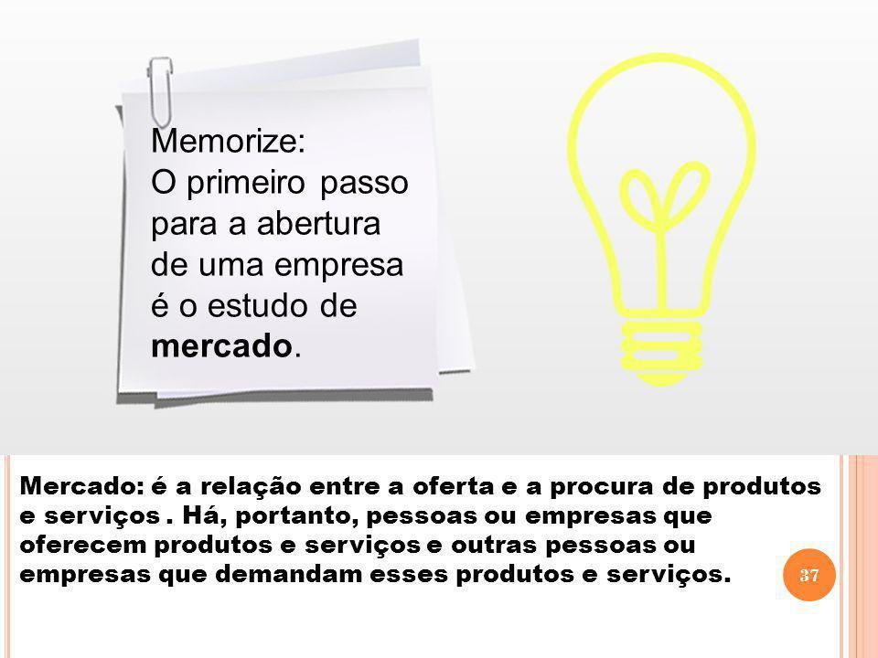 O primeiro passo para a abertura de uma empresa é o estudo de mercado.