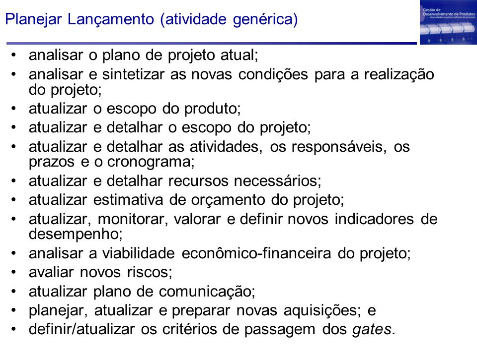Planejar Lançamento (atividade genérica)
