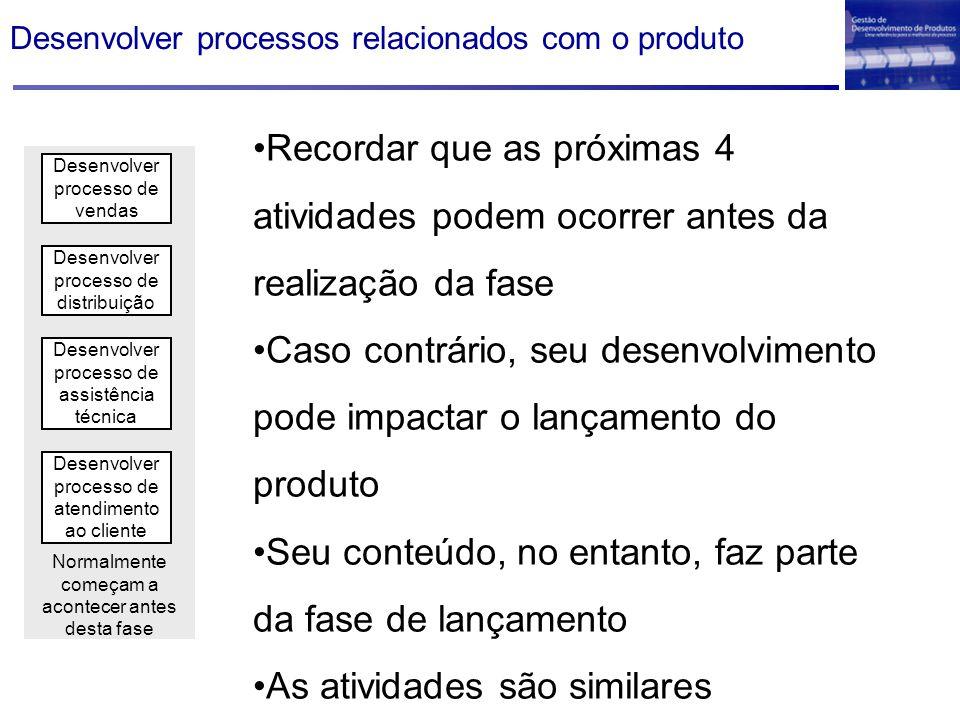 Desenvolver processos relacionados com o produto