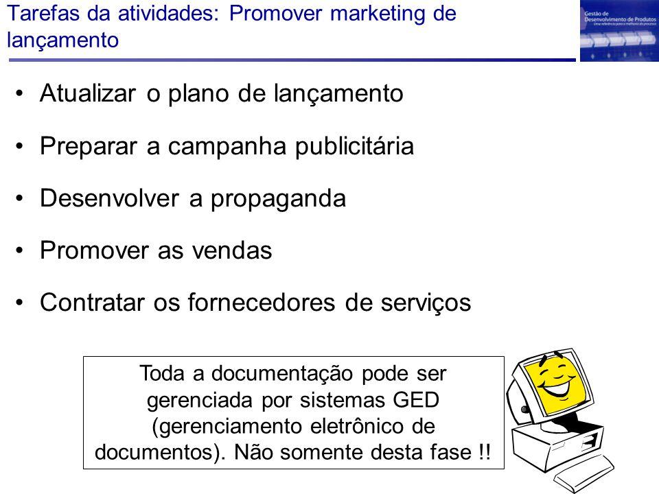 Tarefas da atividades: Promover marketing de lançamento