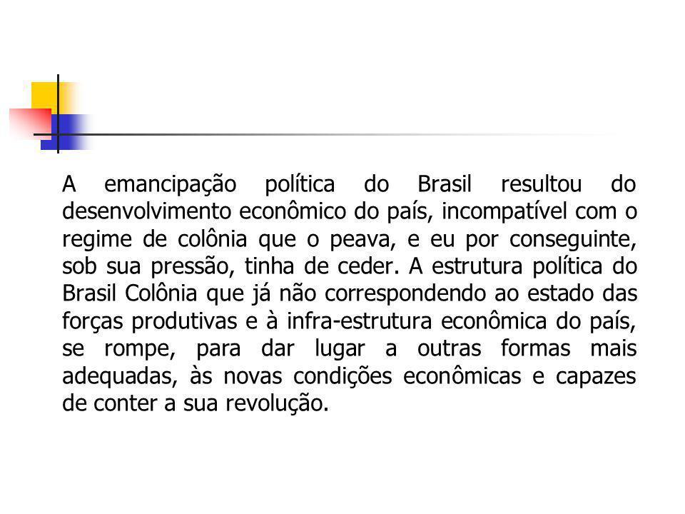 A emancipação política do Brasil resultou do desenvolvimento econômico do país, incompatível com o regime de colônia que o peava, e eu por conseguinte, sob sua pressão, tinha de ceder.