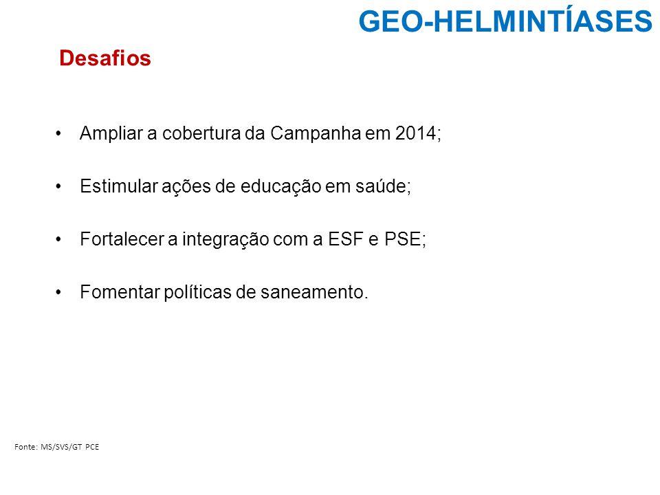 GEO-HELMINTÍASES Desafios Ampliar a cobertura da Campanha em 2014;