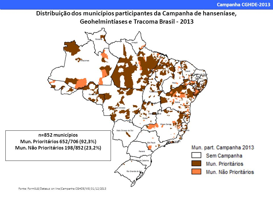 Distribuição dos municípios participantes da Campanha de hanseníase,