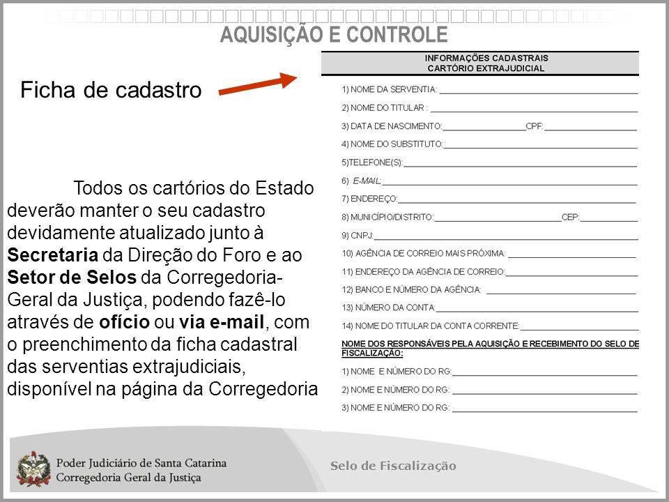 Ficha de cadastro AQUISIÇÃO E CONTROLE