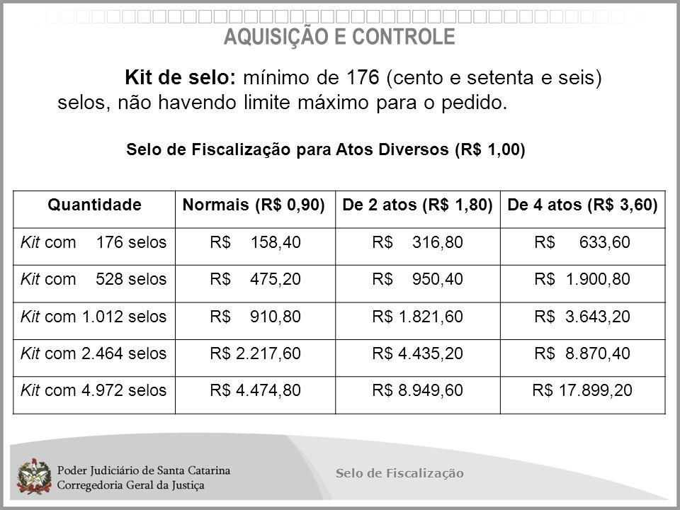 AQUISIÇÃO E CONTROLE Kit de selo: mínimo de 176 (cento e setenta e seis) selos, não havendo limite máximo para o pedido.
