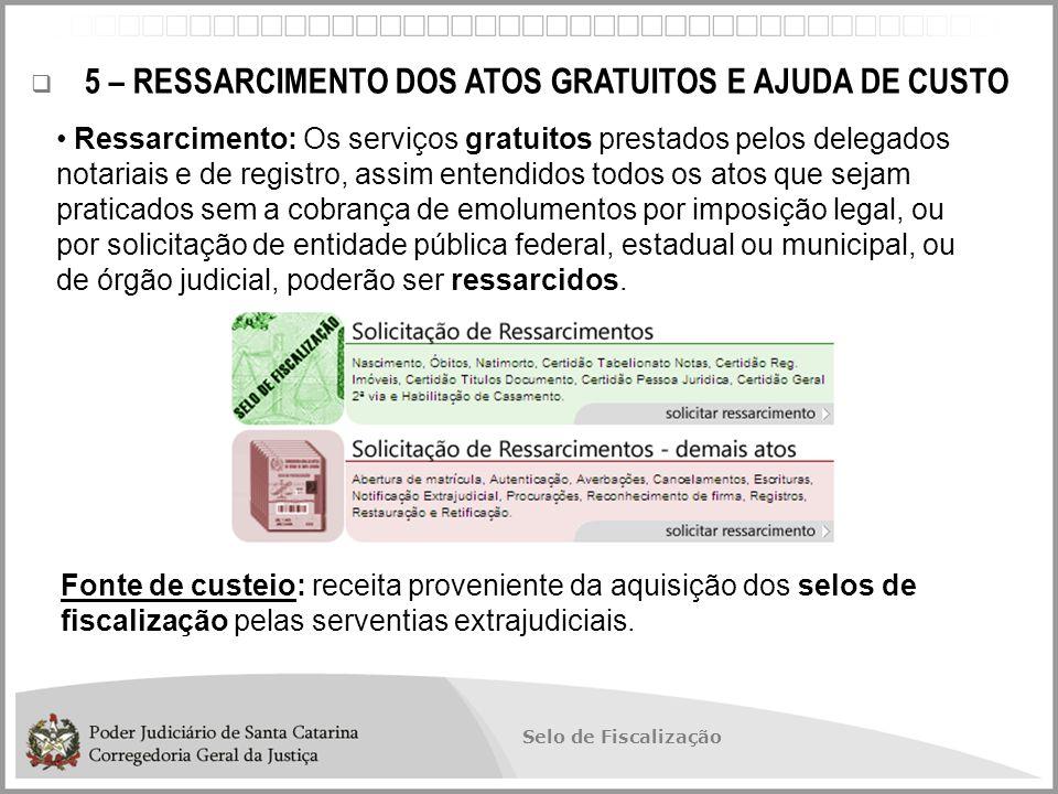 5 – RESSARCIMENTO DOS ATOS GRATUITOS E AJUDA DE CUSTO