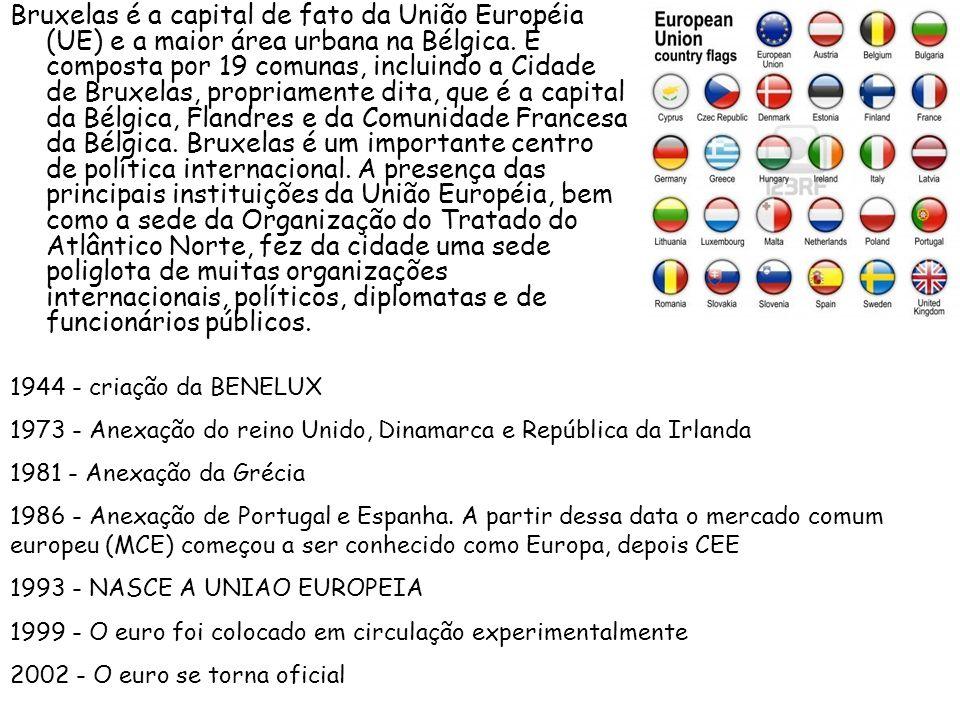 Bruxelas é a capital de fato da União Européia (UE) e a maior área urbana na Bélgica. É composta por 19 comunas, incluindo a Cidade de Bruxelas, propriamente dita, que é a capital da Bélgica, Flandres e da Comunidade Francesa da Bélgica. Bruxelas é um importante centro de política internacional. A presença das principais instituições da União Européia, bem como a sede da Organização do Tratado do Atlântico Norte, fez da cidade uma sede poliglota de muitas organizações internacionais, políticos, diplomatas e de funcionários públicos.