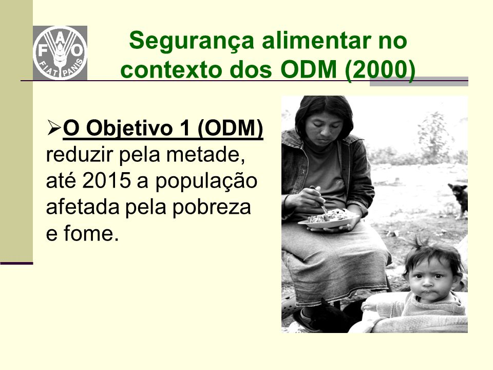 Segurança alimentar no contexto dos ODM (2000)