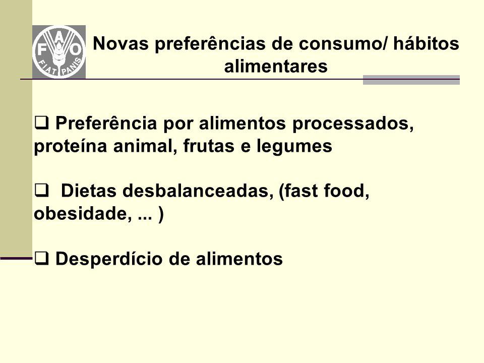 Novas preferências de consumo/ hábitos alimentares