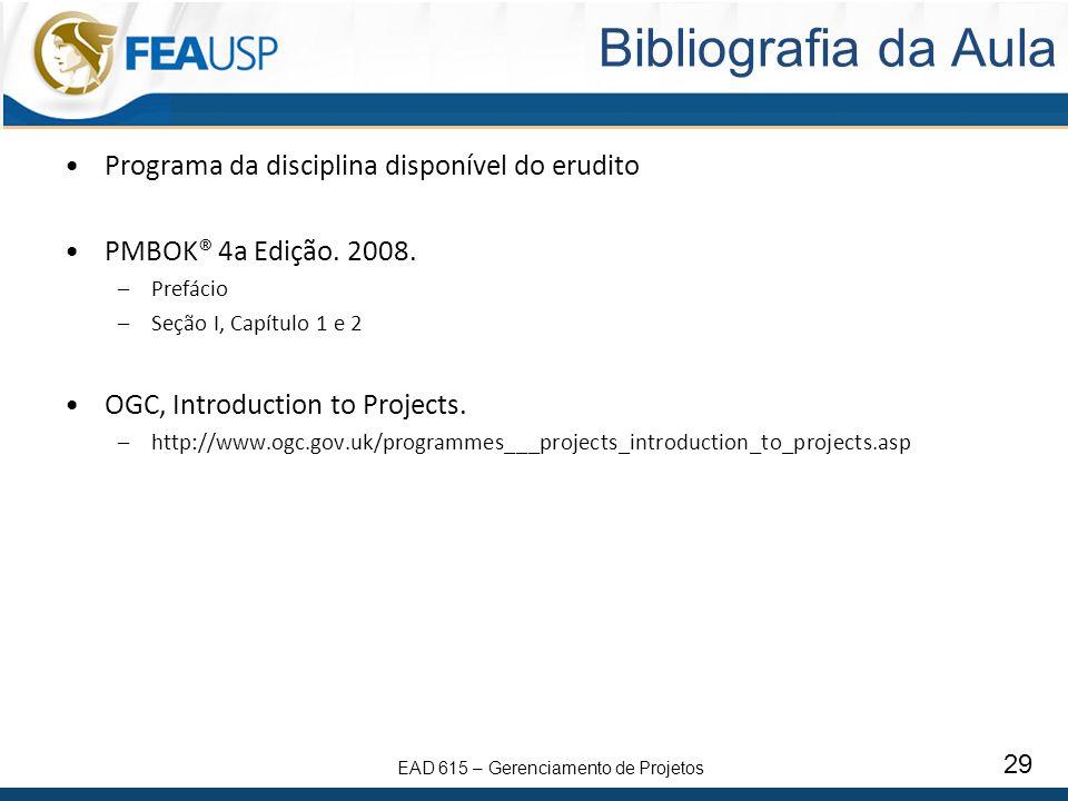 Bibliografia da Aula Programa da disciplina disponível do erudito