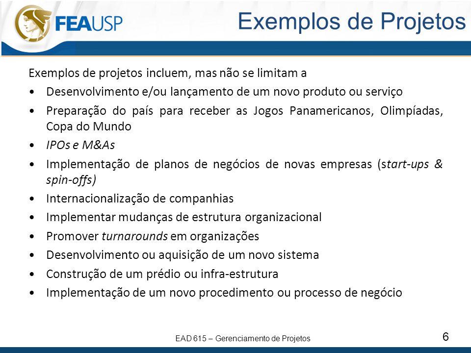 Exemplos de Projetos Exemplos de projetos incluem, mas não se limitam a. Desenvolvimento e/ou lançamento de um novo produto ou serviço.
