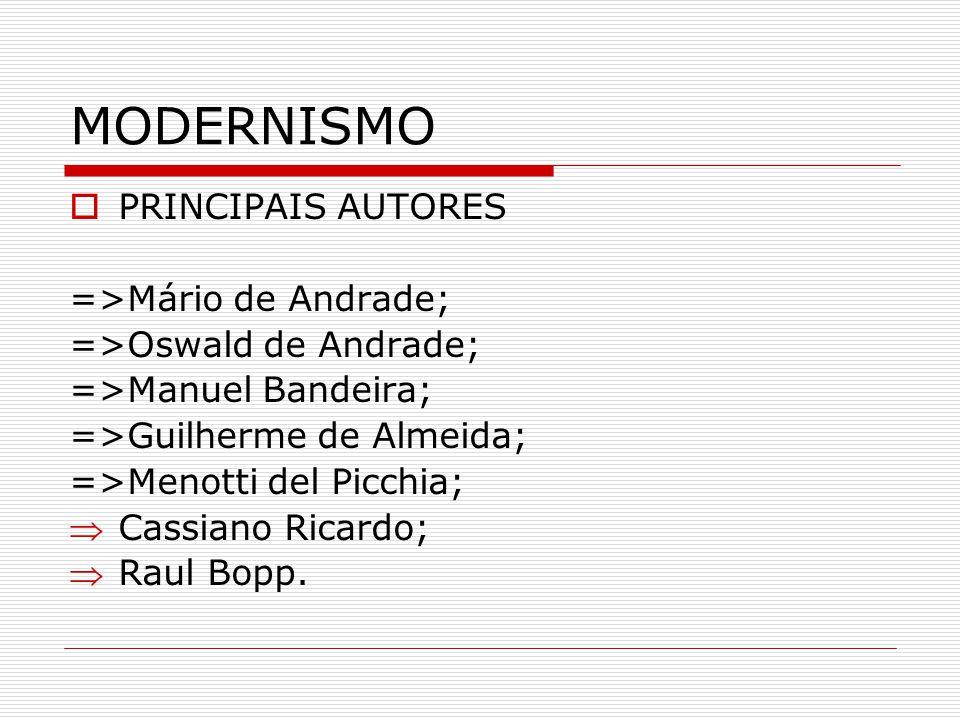 MODERNISMO PRINCIPAIS AUTORES =>Mário de Andrade;