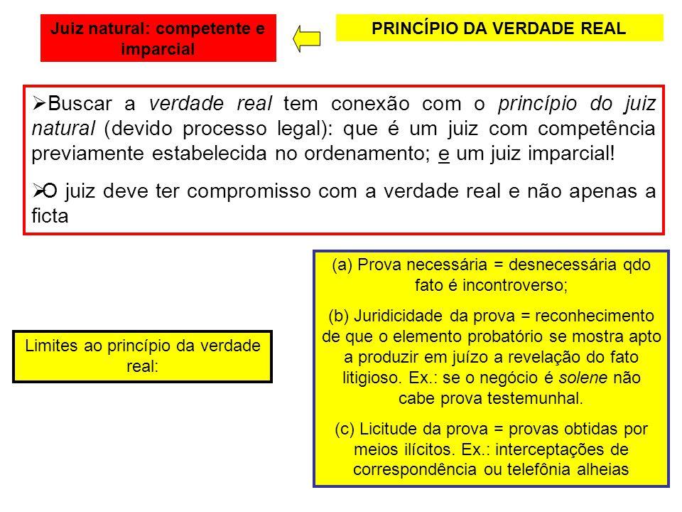 Juiz natural: competente e imparcial PRINCÍPIO DA VERDADE REAL