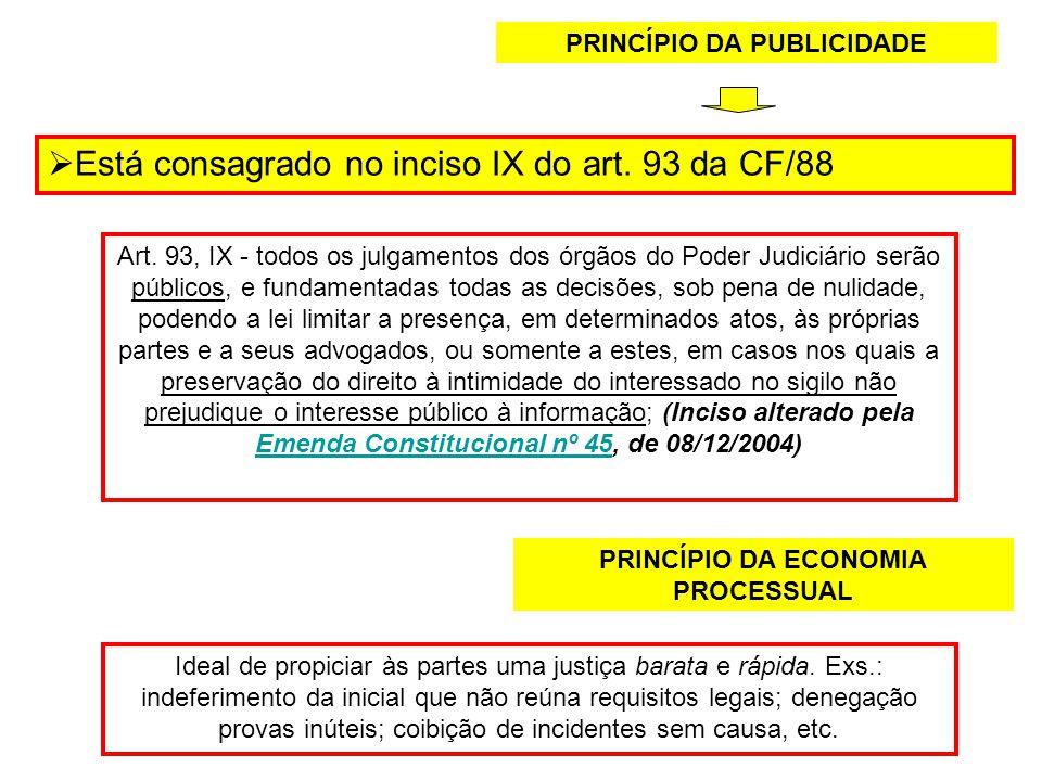 PRINCÍPIO DA PUBLICIDADE PRINCÍPIO DA ECONOMIA PROCESSUAL