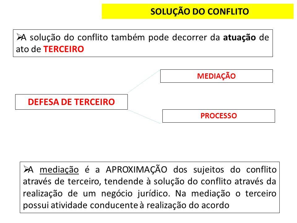 SOLUÇÃO DO CONFLITO DEFESA DE TERCEIRO