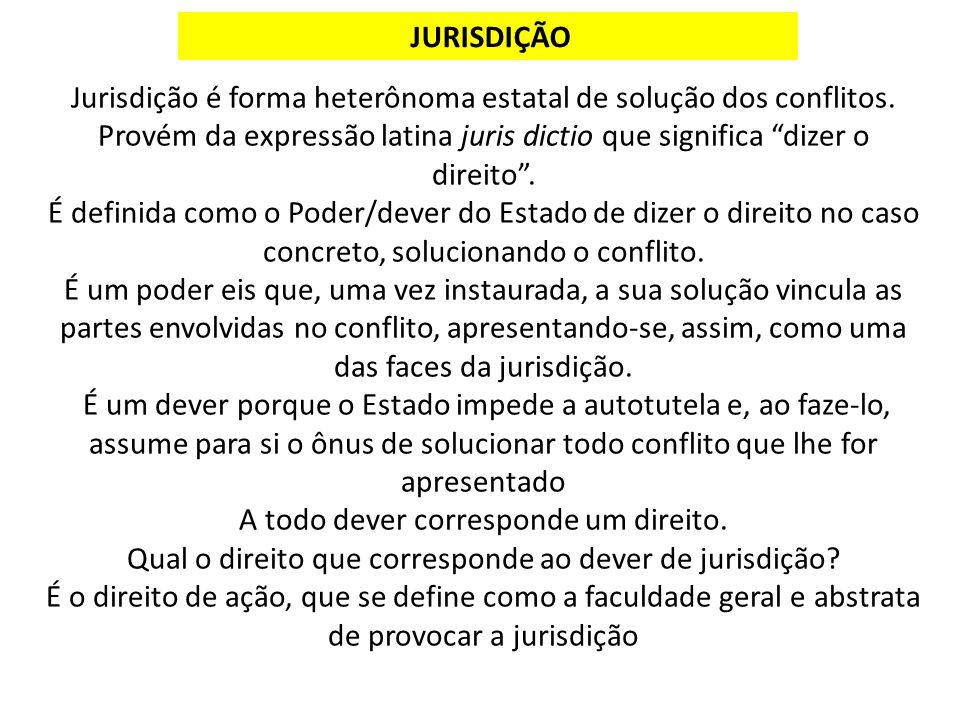 Jurisdição é forma heterônoma estatal de solução dos conflitos.