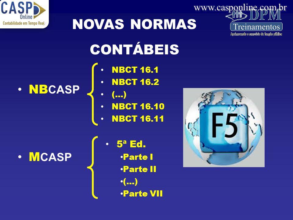 NOVAS NORMAS CONTÁBEIS NBCASP MCASP 5ª Ed. NBCT 16.1 NBCT 16.2 (...)