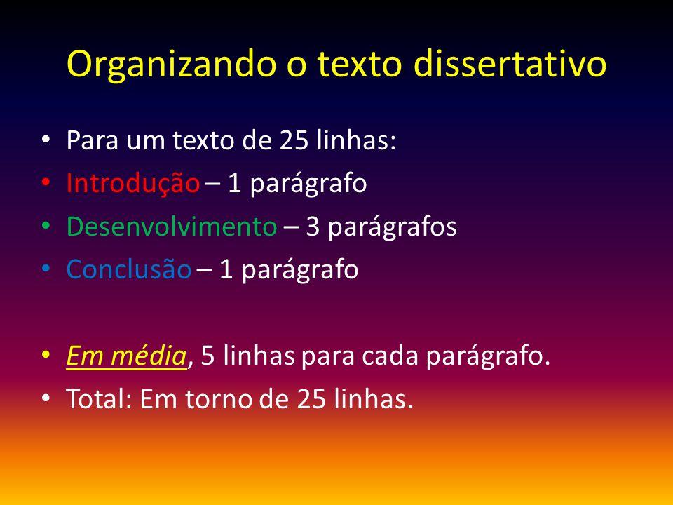 Organizando o texto dissertativo
