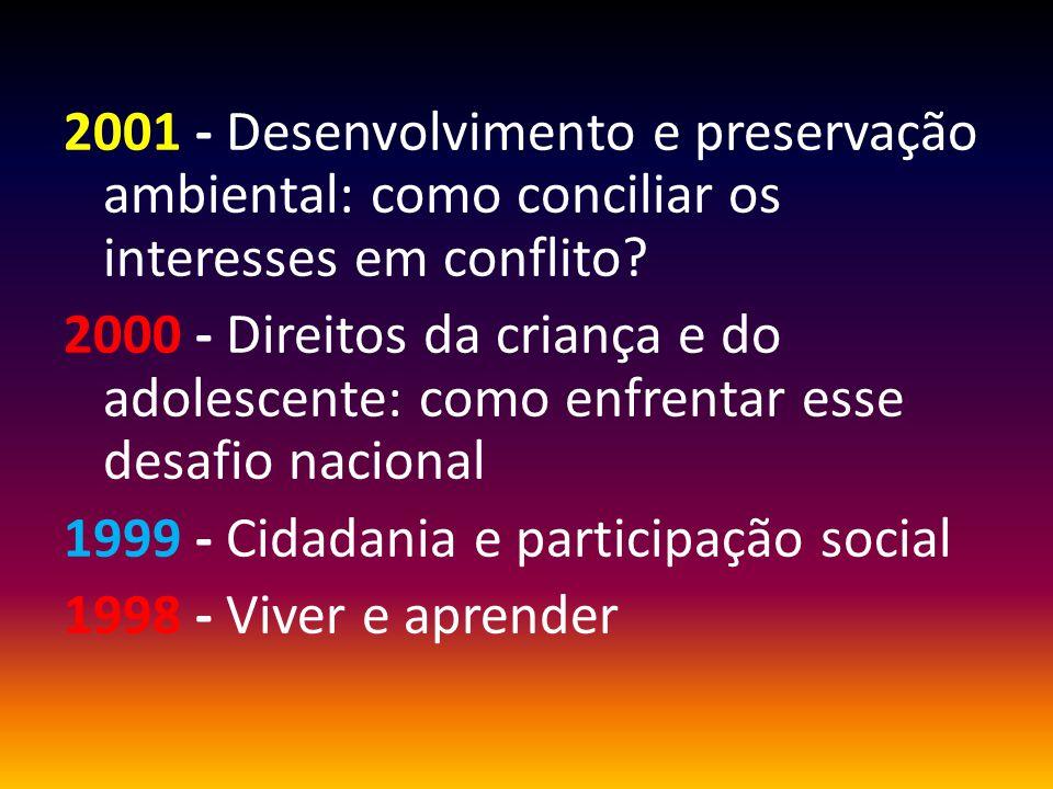 2001 - Desenvolvimento e preservação ambiental: como conciliar os interesses em conflito