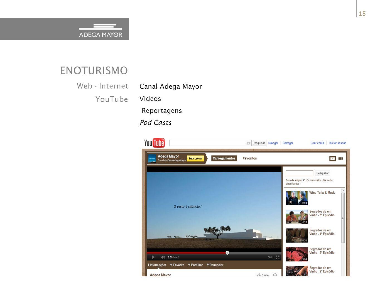 ENOTURISMO Web - Internet YouTube Canal Adega Mayor Videos Reportagens