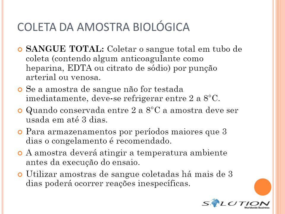 COLETA DA AMOSTRA BIOLÓGICA