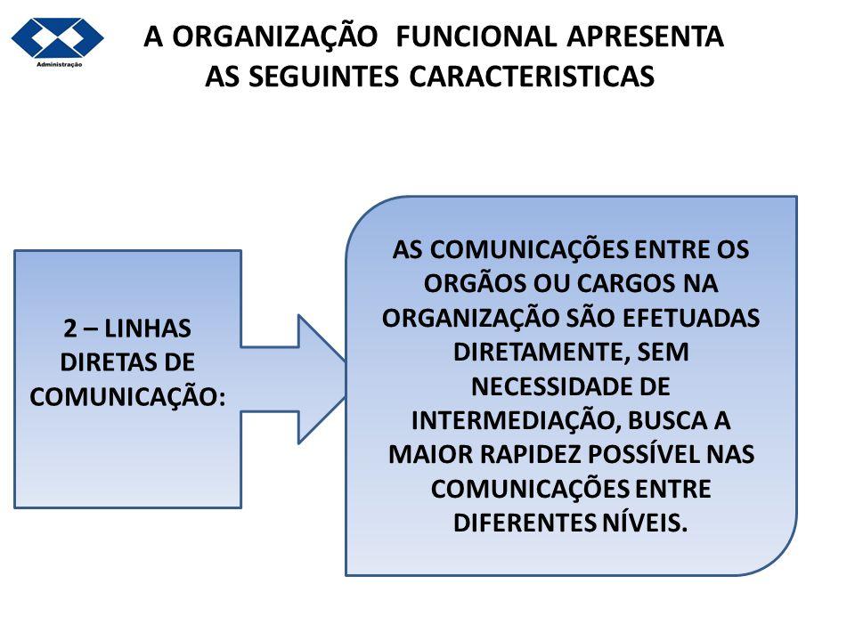 A ORGANIZAÇÃO FUNCIONAL APRESENTA AS SEGUINTES CARACTERISTICAS