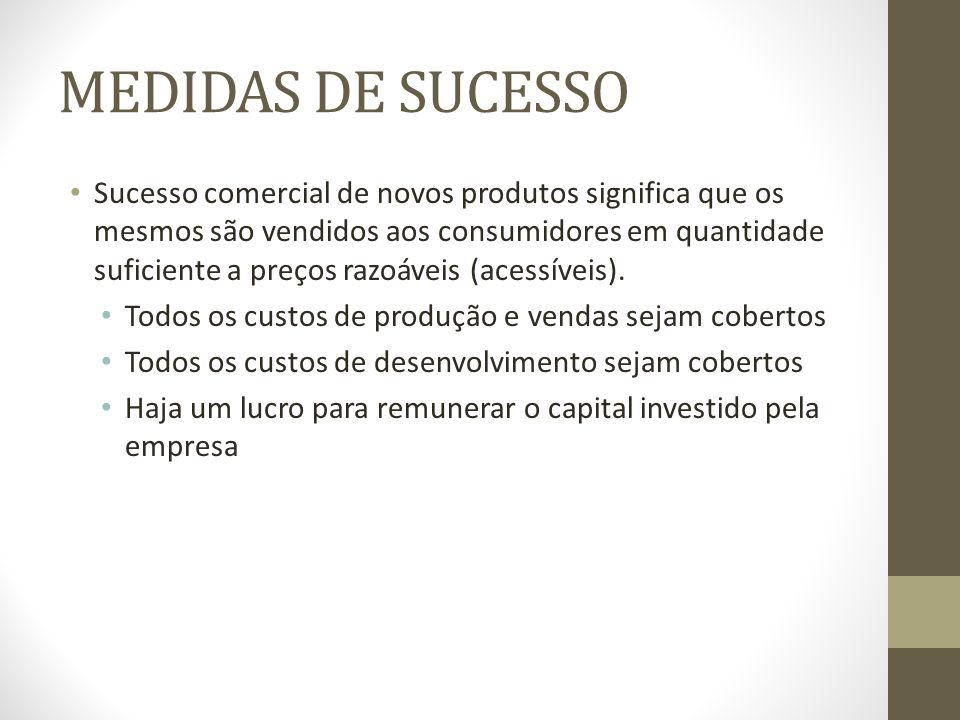 MEDIDAS DE SUCESSO