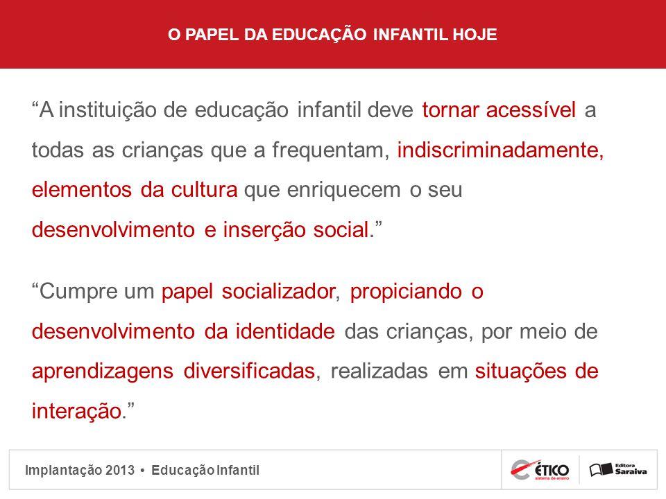 O PAPEL DA EDUCAÇÃO INFANTIL HOJE