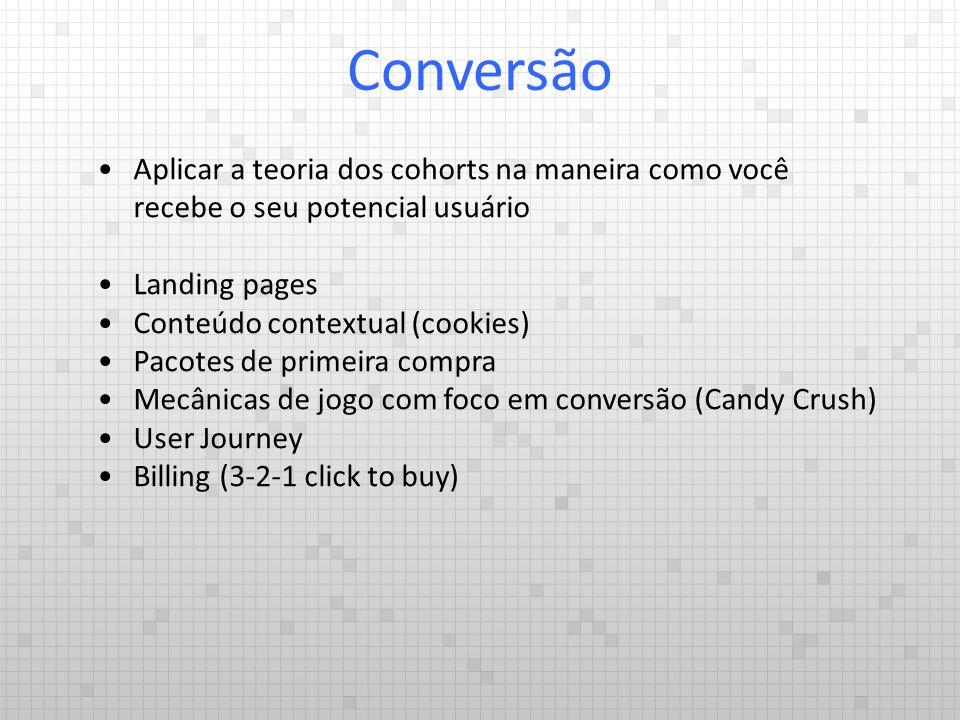 Conversão Aplicar a teoria dos cohorts na maneira como você recebe o seu potencial usuário. Landing pages.